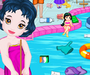 game Baby Princess Swimming Pool Cleaning