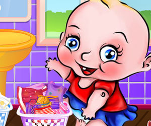 game Cute Baby Washing Clothes