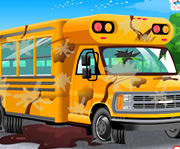game School Bus Car Wash Game